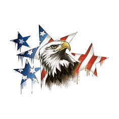 Patriotic Eagle and Stars Large Freedom Temporary Tattoo is perfect for your 4th of July celebrations!