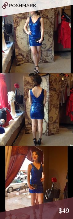 Royal Blue Sequins Dress This gorgeous sleeveless dress features V neckline and back. back zipper closure and fully lined. Length on small-32 inches medium-33 inches.  100% Polyester. Sorry, large is sold-out. (This closet does not trade or use PayPal) Manuiju Dresses Mini