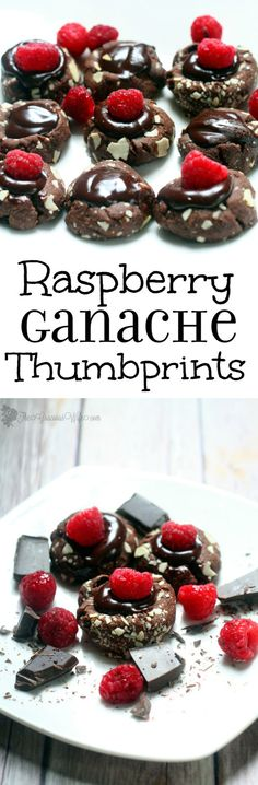 Raspberry Ganache Thumbprints Cookie Recipe - a pretty but easy dessert cookie recipe.  Chocolate thumbprints filled with a super easy ganache and topped with a fresh raspberry.  Makes a pretty Christmas cookie too!