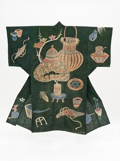 back of Bed Cover in the Shape of a Kimono (Yogi) with Tea Ceremony Utensils and Auspicious Treasures,  Meiji period, 1868-1912  Institution  Los Angeles County Museum of Art