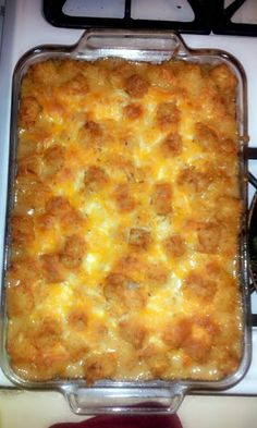 "Tator Tot Casserole! 4.33 stars, 9 reviews. ""cooked it tonite added Bacon and cheese :) YUMMY"" @allthecooks #recipe #easy #casserole #tot #quick"