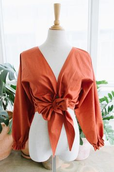 DIY: tied linen wrap top #sewing