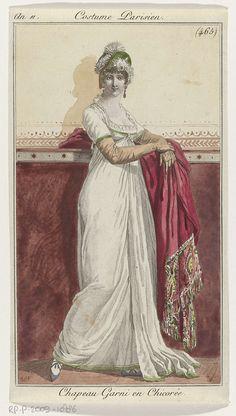 Journal des Dames et des Modes, Costume Parisien, 25 avril 1803. An 11, (465): Chapeau garni en Chicorée, Pierre Charles Baquoy, 1803