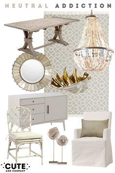 neutral interior, neutral colors, interior design, neutral interior design, cream and white interior, macau dining chairs, distressed trestl...