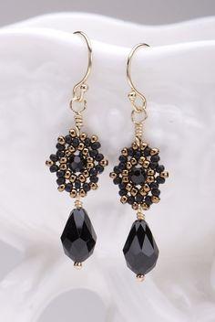 Beadwoven Drop Earrings / Black Swarovski Crystal Briolettes / Gold-Filled Earwires/Noir /Night Out/ Wear With Little Black Dress - - - Luna...
