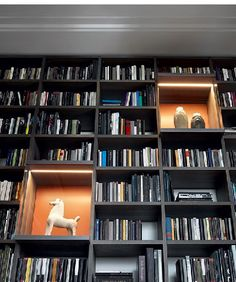 Poliform contemporary furniture: the Italian brand of fine and designer furniture with high quality finishings. Home Library Rooms, Home Library Design, Home Libraries, Home Office Design, House Design, Bookcase Wall, Wooden Bookcase, Bookshelves, Home Theaters