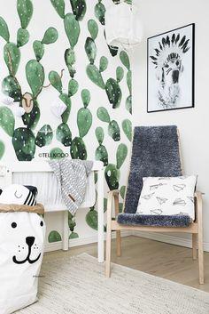 Cactus print nursery mural by anewall