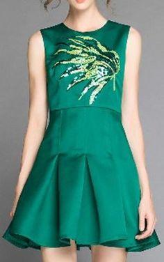 A-Line Green Leaf Embellished Pleated Mini Dress