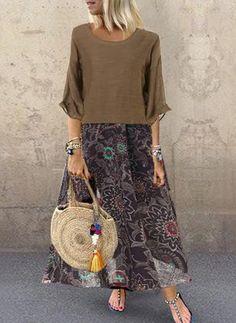 Sleeveless Print Long Dress and Sheer Shirt – Fashion Wigs Vestidos Retro, Hijab Look, Half Sleeve Dresses, Maxi Robes, Vacation Dresses, Fashion Seasons, Floral Maxi Dress, Boho, Casual Dresses