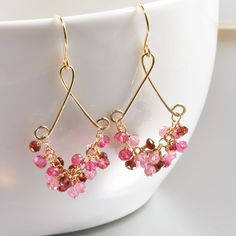 Garnet Pink Topaz Gold Earrings January Birthstone by NansGlam,