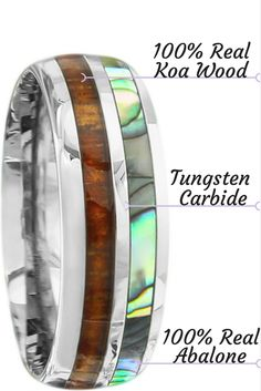 Mens Or Womens Wedding Band Made Out Of Tungsten Carbide Real Koa Wood And