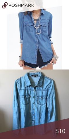 Denim chambray Soft denim chambray from Forever 21. Looks great worn over tank tops or just buttoned up by itself. Perfect oversized fit for a small. Great condition. Forever 21 Tops Button Down Shirts