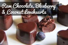 Raw vegan chocolate, blueberry and coconut candy love hearts! Perfect treat for valentines day <3  #recipe