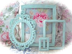 SHABBY Vintage Robin's Egg BLUE Distressed Ornate by hottiepants84, $47.50