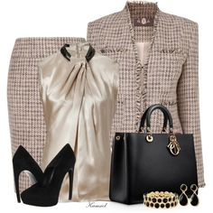 A fashion look from September 2013 featuring Etro blouses, Phase Eight jackets and Phase Eight skirts. Browse and shop related looks. Komplette Outfits, Classy Outfits, Stylish Outfits, Beautiful Outfits, Fashion Outfits, Womens Fashion, Fashion Trends, Business Outfits, Business Fashion