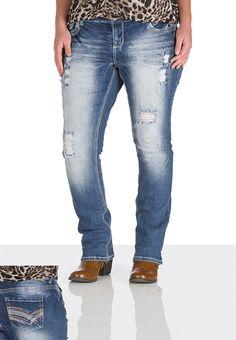 Maurices Vintage Medium Wash Destructed Straight Jeans