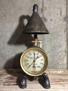 Steampunk Industrial Lamp, Vintage 1906 Brass Pressure Gauge, Glass Insulator