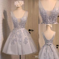 Sliver Short Homecoming Dresses 2016 V Neck Lace Appliques Sequins Mini Prom…