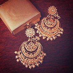"""Chandbalis are a girl's best friend. India Jewelry, Ethnic Jewelry, Bridal Earrings, Bridal Jewelry, Pearl Earrings, Indian Accessories, Jewelry Accessories, Amrapali Jewellery, Moda Indiana"