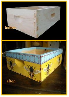 bee box original option 1 by petitpiaf on Etsy Honey Shop, I Love Bees, Bee Boxes, Backyard Beekeeping, Bee Art, Bee Theme, Painted Boxes, Bee Happy, Save The Bees