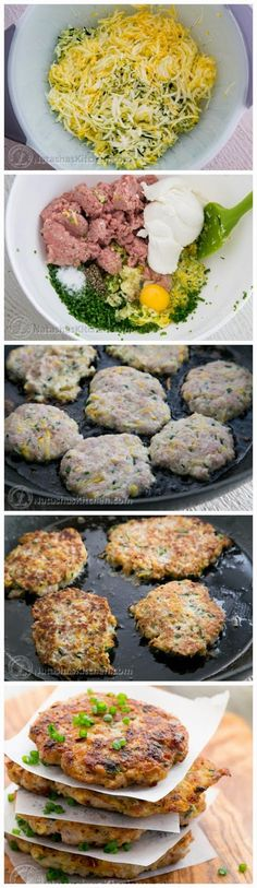 The Best Healthy Recipes: Chicken Zucchini Fritters. #heathyliving, #nutritious, #freshfoods, #foodporn, #healthydinner, #cleaneats, #foodie Try this with your new http://www.amazon.com/ezSLICER-VEGETABLE-SPIRAL-SLICER-Spiralizer/dp/B00L3NP45E