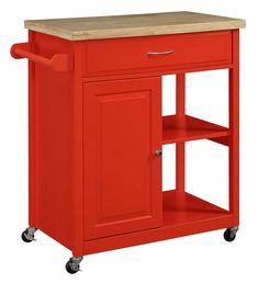 Oliver and Smith Nashville Collection Mobile Kitchen Island Cart on Wheels Red Natural Oak Butcher Block 30 W x 18 L x 36 H *** You can get additional details at Mobile Kitchen Island, Kitchen Island On Wheels, Kitchen Island Decor, Oak Kitchen Cabinets, Built In Cabinets, Kitchen Carts, Kitchen Ideas, Kitchen Islands, Kitchen Pantry