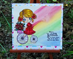 Little Blue Button Stamps: Miss Lilly on a bike