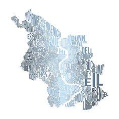 ♥ Köln ♥    Heimatliebe mal anders. Original Stadtplan von Köln mit Typo illustriert.    Gedruckt auf hochwertigem Fineart-Papier, z.B. Epson Enhanced