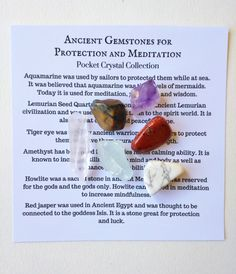 Ancient Gemstones for Protection and Meditation - pocket crystals, gemstones for healing, crystal sets, gemstone sets, healing crystals by FeathersandStars on Etsy