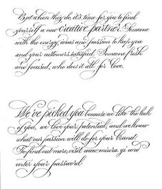 Just came across this old file, a test script for a Valentine letter we sent out in 2009 to brands we loved. Handwritten script by Paul Antonio Handwriting Styles, Calligraphy Handwriting, Calligraphy Alphabet, Penmanship, Calligraphy Envelope, Copperplate Calligraphy, How To Write Calligraphy, Islamic Calligraphy, Hand Lettering Alphabet