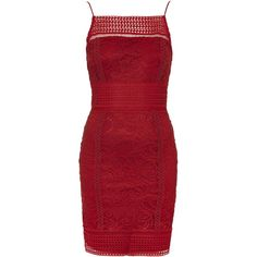 TOPSHOP Floral Crochet Lace Bodycon Dress ($56) ❤ liked on Polyvore featuring dresses, berry red, bohemian dress, mini dress, topshop dresses, boho dress und red floral dress