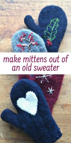 How to make mittens from old sweaters! make mittens out of an old sweater – good tutorial with free printable patterns Easy Sewing Projects, Sewing Projects For Beginners, Sewing Hacks, Diy Projects, Quilting Projects, Sewing Crafts, Sewing Patterns Free, Free Pattern, Diy Baby Headbands