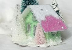 Handmade Vintage Putz Style Miniature Apple Green and Candy Pink Glitter House with Pine Trees for your Christmas Village or Tree Ornament by TheUglyDuckling1962 on Etsy