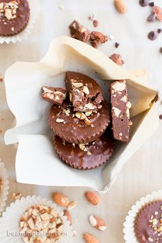 Paleo Chocolate Almond Butter Fudge Cups     Beaming Baker     V GF P