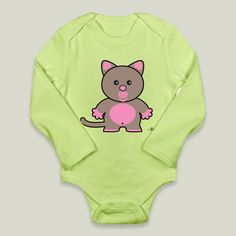 Fun Indie Art from BoomBoomPrints.com! http://www.boomboomprints.com/Product/PsychoCats/Baby_Lily/Long-Sleeve_Onesies/12-18M_Kiwi_Long-Sleeve_Onesie/