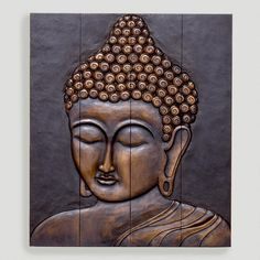 One of my favorite discoveries at WorldMarket.com: Buddha Face Wall Hanging, Wood, looks like a million bucks!