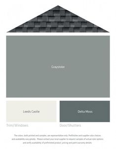 Need exterior house siding color ideas? See the Decorologist's choices of colors that work well with a gray or black roof! Exterior Color Schemes, Siding Colors, Exterior Paint Colors For House, House Color Schemes, Paint Colors For Home, Exterior Design, Outside House Paint Colors, Exterior Paint Combinations, Farmhouse Exterior Colors