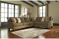 """The Nisland 3-Piece Sectional from Ashley Furniture HomeStore (AFHS.com). The """"Nisland-Wicker"""" upholstery collection combines supportive comfort with a sleek contemporary design to create the perfect addition to any living area."""