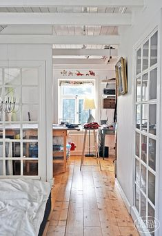 Art Studio...love lots of windows and light, all white walls and ceilings, light wood floor
