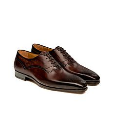 Brown hand painted leather lace up oxford shoes for men - Magnanni
