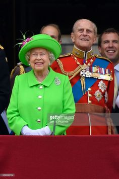 (L-R) Queen Elizabeth II and Prince Philip, Duke of Edinburgh watch a fly past during the Trooping the Colour, this year marking the Queen's 90th birthday at The Mall on June 11, 2016 in London, England. The ceremony is Queen Elizabeth II's annual birthday parade and dates back to the time of Charles II in the 17th Century when the Colours of a regiment were used as a rallying point in battle.  (Photo by Ben A. Pruchnie/Getty Images)