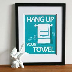 Childrens Bathroom Art Prints, Hang up your towel -custom colors- word art 8x10 typography print, childrens art for the bathroom. $15.00, via Etsy. #kids #boys #girls