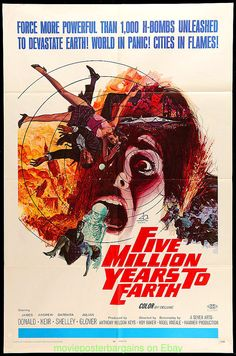 FIVE MILLION YEARS TO EARTH MOVIE POSTER Original 27x41 Fld 1967 Hammer Horror in Entertainment Memorabilia, Movie Memorabilia, Posters, Originals-United States, 1960-69 | eBay