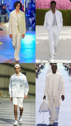 7 Of The Most Wearable Trends From Men's Fashion Month Mens Fashion Week, Mens Fashion Suits, Trendy Fashion, Men's Fashion, Fashion Trends, All White Outfit, White Outfits, Pantone, Fashion Models