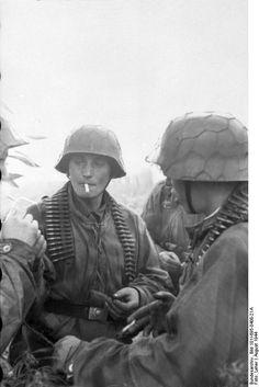 German soldiers smoking. Warsaw Uprising,August 1944