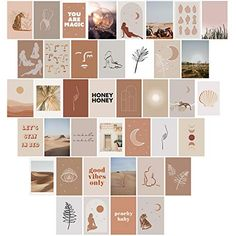 Aesthetic Wall Collage Kit Prints - 40 Set 4x6 inch Room Decor for Teen Girls Brown VSCO Wall Art Print Dorm Photo Collection Small Posters Aesthetic Pictures