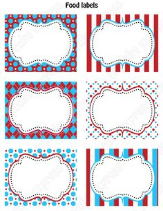 Seuss Free Printable Labels - Dr Seuss Cat in the Hat Baby Shower or Birthday Party Door Sign, Dr. Seuss Party Food Labels Free Printables and Dr. Seuss Name Tags Printable Dr Seuss Birthday Party, Carnival Birthday Parties, Circus Birthday, First Birthday Parties, Birthday Ideas, Circus Theme, Circus Party, Food Label Template, Food Labels