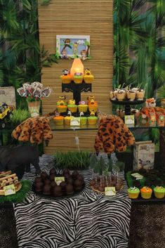Dessert table at a safari birthday party! See more party planning ideas at CatchMyParty.com!