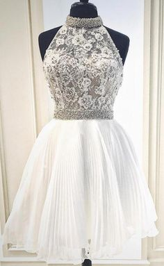 3a97956fe79 Princess High Neck White Short Homecoming Dress