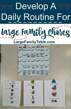 Develop A Daily Routine For Large Family Chores. #largefamilytable #chores #largefamilychores #choretime #homeschoolmom #dailyroutine